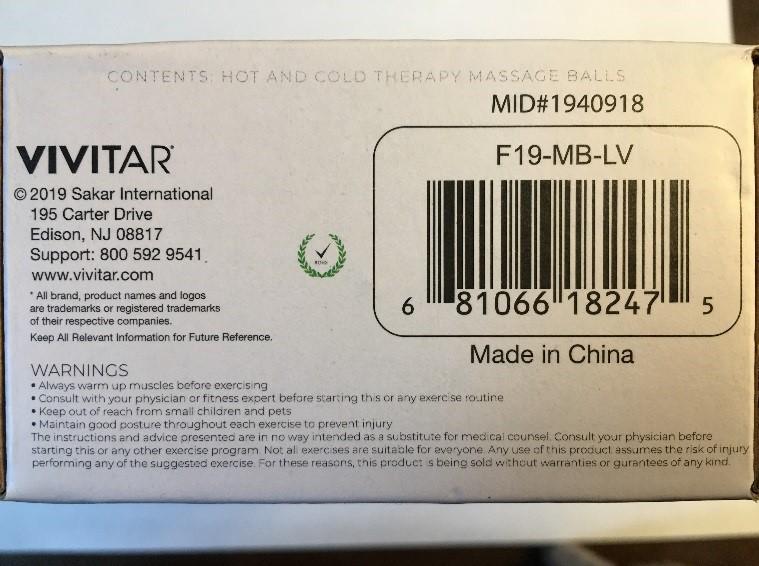 vivitar massage ball label