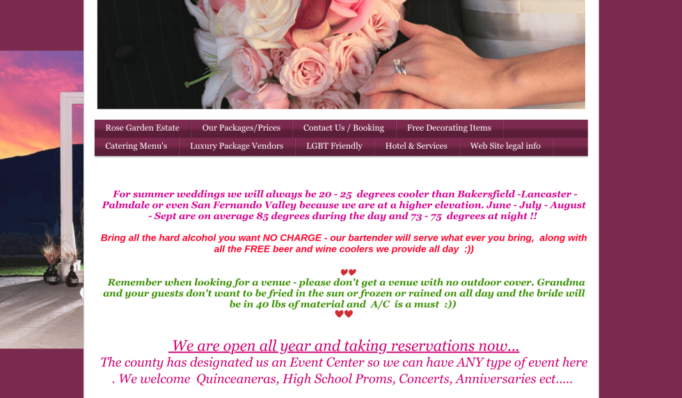 wedding venue with a bad website and marketing