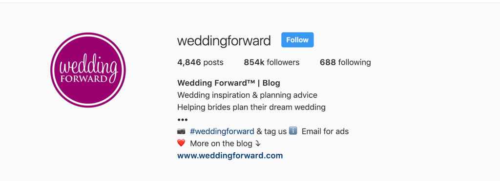 Screent shot of the instagram account weddingforwad's bio