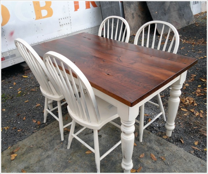 table en bois recupere blanc antique