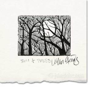 sun and trees wood engraving