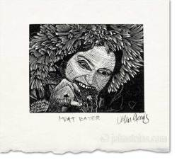 meat eater wood engraving