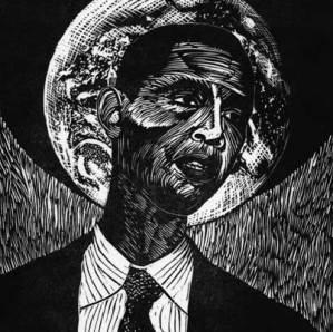 president obama linocut