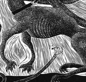 Bird Dog ~ Linoleum print ~ John Steins
