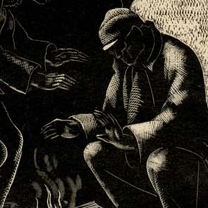Clare Leighton ~ Bread Line, New York ~ wood engraving