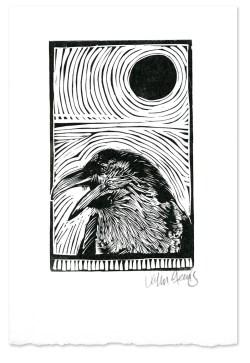 Raven Under a Black Moon ~ Lino-cut ~ John Steins