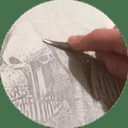 Selfie as a woodcut