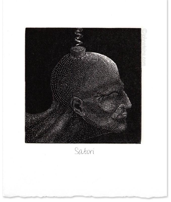 """""""Satori"""" ~ wood engraving ~ © John Steins"""