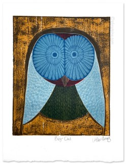 Big Owl multi-coloured woodcut print
