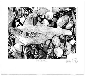 Driftwood virtual woodcut engraving using stylus and ipasd