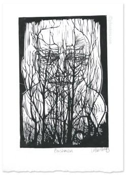 Bushman ~ Linocut ~ © John Steins