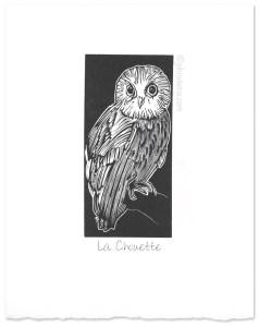 """La Chouette"" ~ wood engraving ~ © John Steins"
