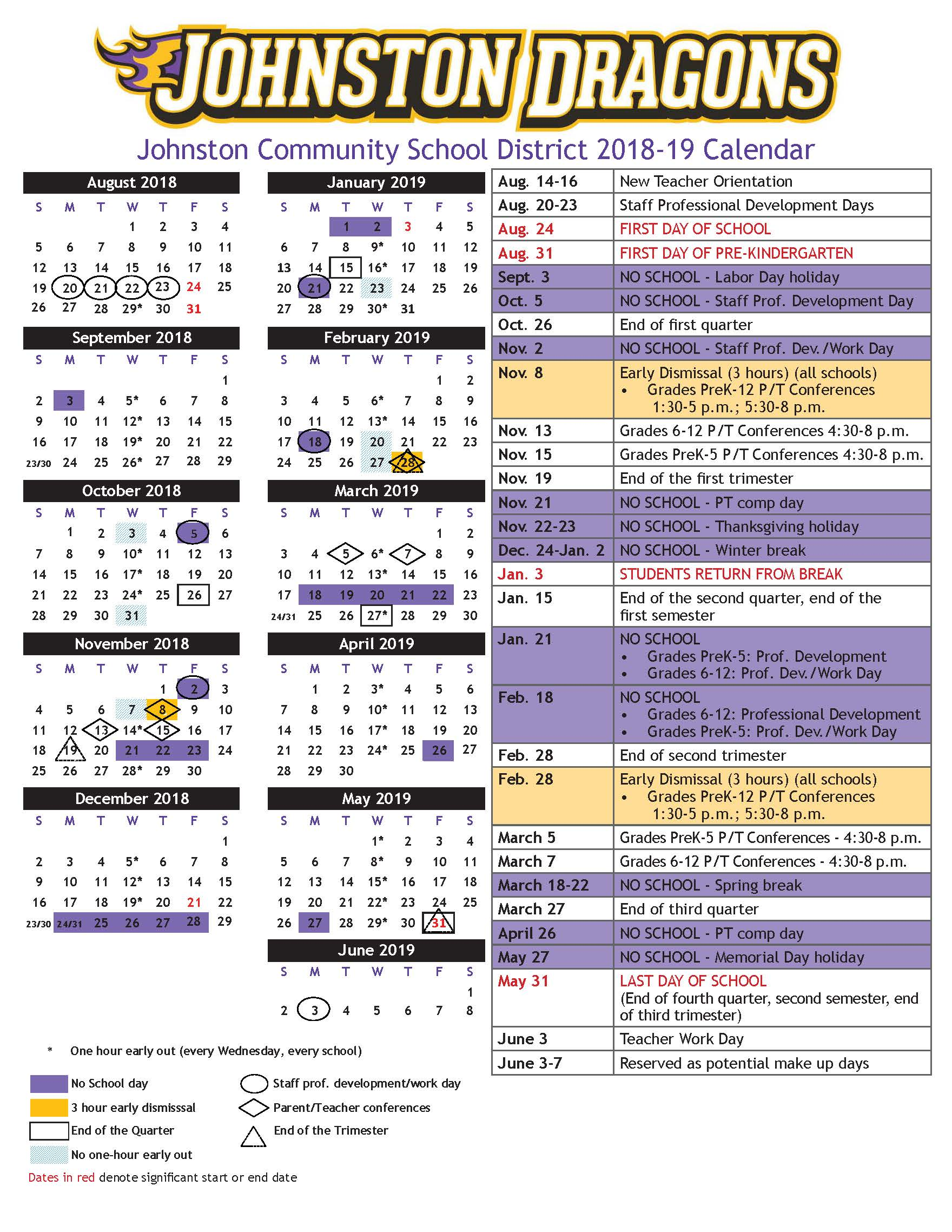 Yearly Calendars For Staff And Families 2018-19 Academic Calendar Image