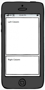 Wireframe of a two column layout in a mobile view