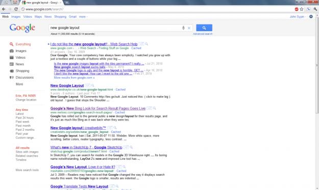 google search layout