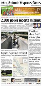 Front page story about San Antonio police reports in the San Antonio Express-News