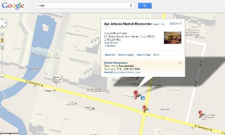 Google map view of the Marriott Hotel in San Antonio, Texas