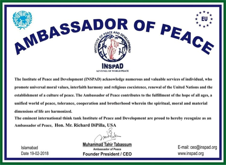 International-reputed-think-tank-Institute-of-Peace-and-Development-INSPAD-announced-Richard-DiPilla-Founder-Global-Goodwill-Ambassadors-GGA-as-new-Ambassador-of-Peace