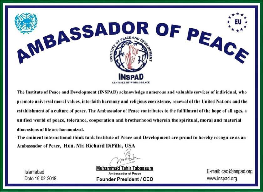 International-reputed-think-tank-Institute-of-Peace-and-Development-INSPAD-announced-Richard-DiPilla-Founder-Global-Goodwill-Ambassadors-GGA-as-new-Ambassador-of-Peace