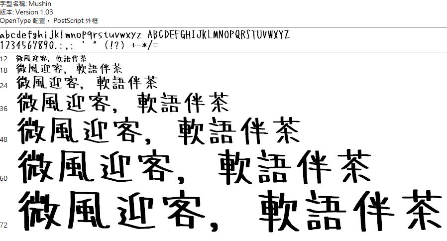 Mushin 手寫字體