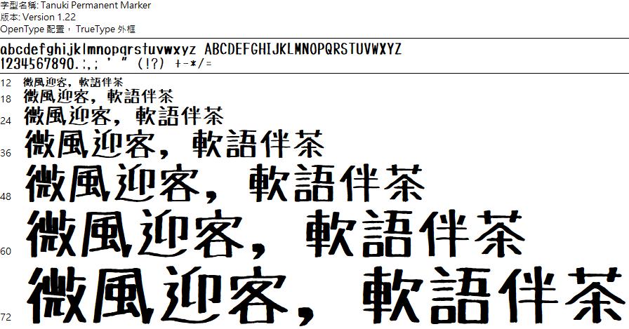 TanukiMagic 麥克筆手繪 POP 字體