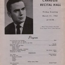 Roger Bobo, Carnagie Hall Recital Program