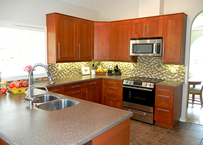 General Contractors Kitchen Remodeling Portland OR  IKEA Adel medium brown cabinets  Tile floor