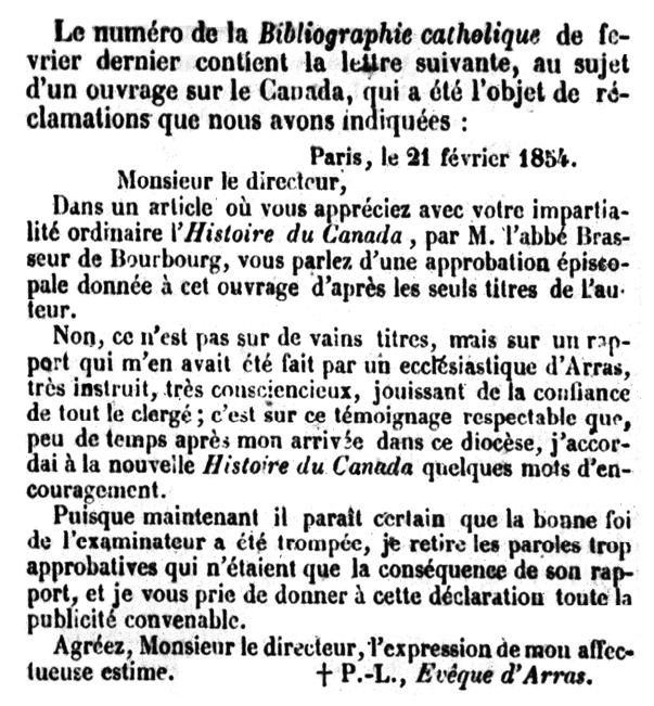 Figure 3 - Retraction of the Histoire du Canada imprimatur