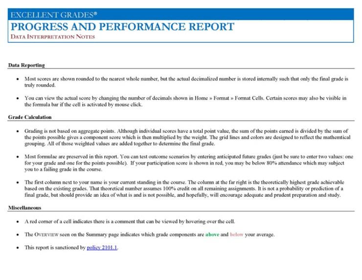Progress & Performance Report Data Interpretation Notes