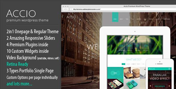 Accio - One Page Parallax Responsive WordPress Theme v1.2.3