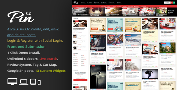 Pin v3.7 - Pinterest Style / Personal Masonry Blog