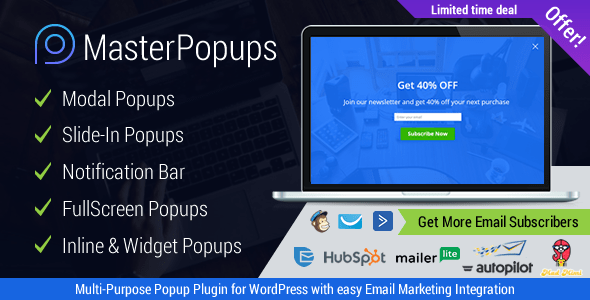 Master Popups v2.3.8 - WordPress Popup Plugin for Lead Generation. Get Subscribers and Grow Your Email List