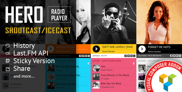 Hero v1.5 - Shoutcast and Icecast Radio Player With History