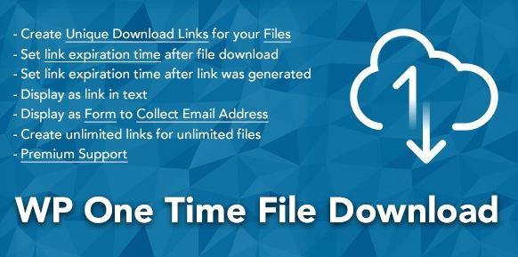 WP One Time File Download - Unique Link Generator WordPress Plugin