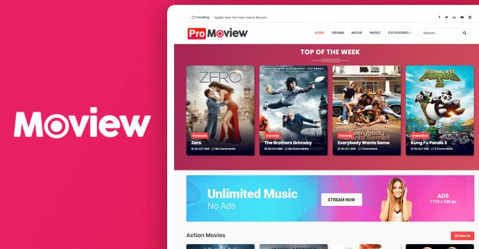 Moview – Professional Movie Blogger Template