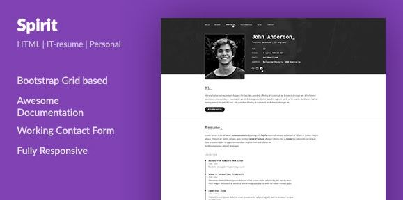SpirIT - Portfolio & Resume HTML Template for Developers, Programmers and Freelancers
