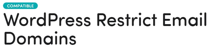 Restricts WordPress email domains