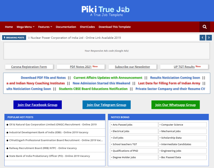 Piki True Job - Education Blogger Template