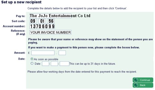 How to pay JoJoFun by bank transfer