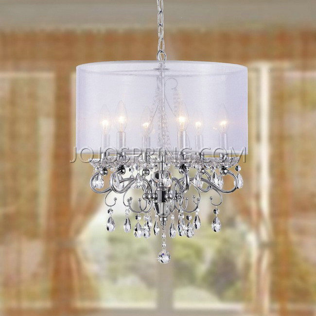 Allured Crystal Chandelier With White Fabric Shade L881 Rt 413