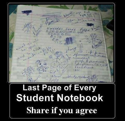 every students Notebook's Last page