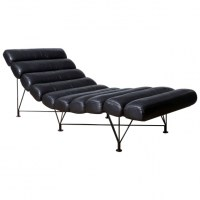 Vintage Mid Century Modern Chaise Lounge Tufted Leather ...