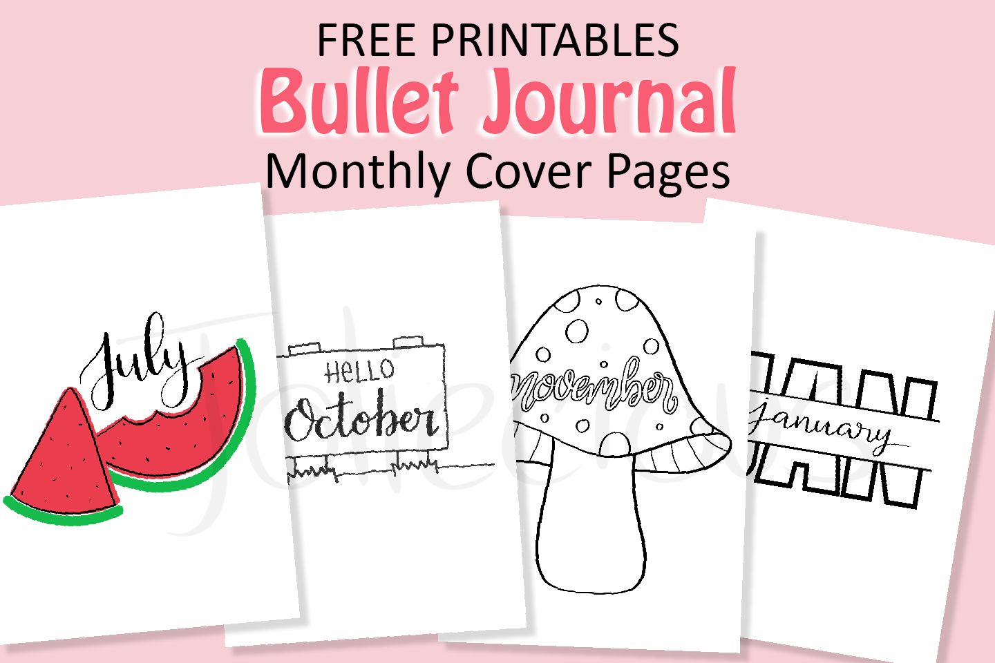 free bullet journal cover page printables