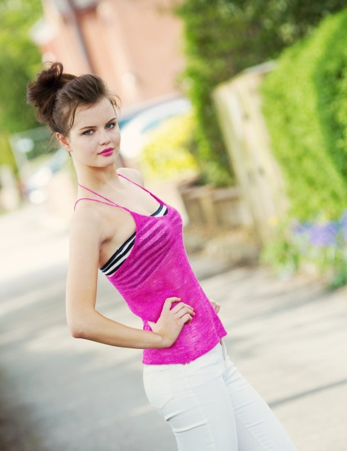 pink-knitted-camisole-top-messy-bun