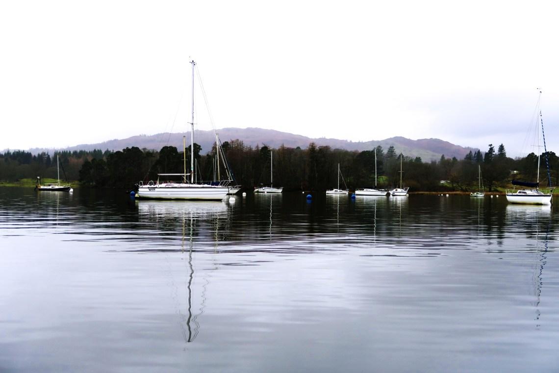 Boats on Windermere in Cumbria UK