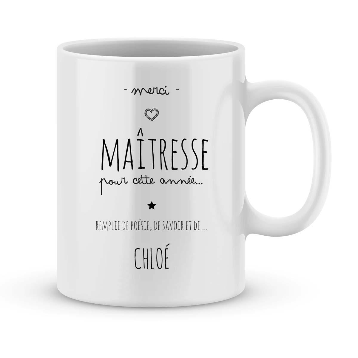 mug personnalise avec un prenom merci maitresse