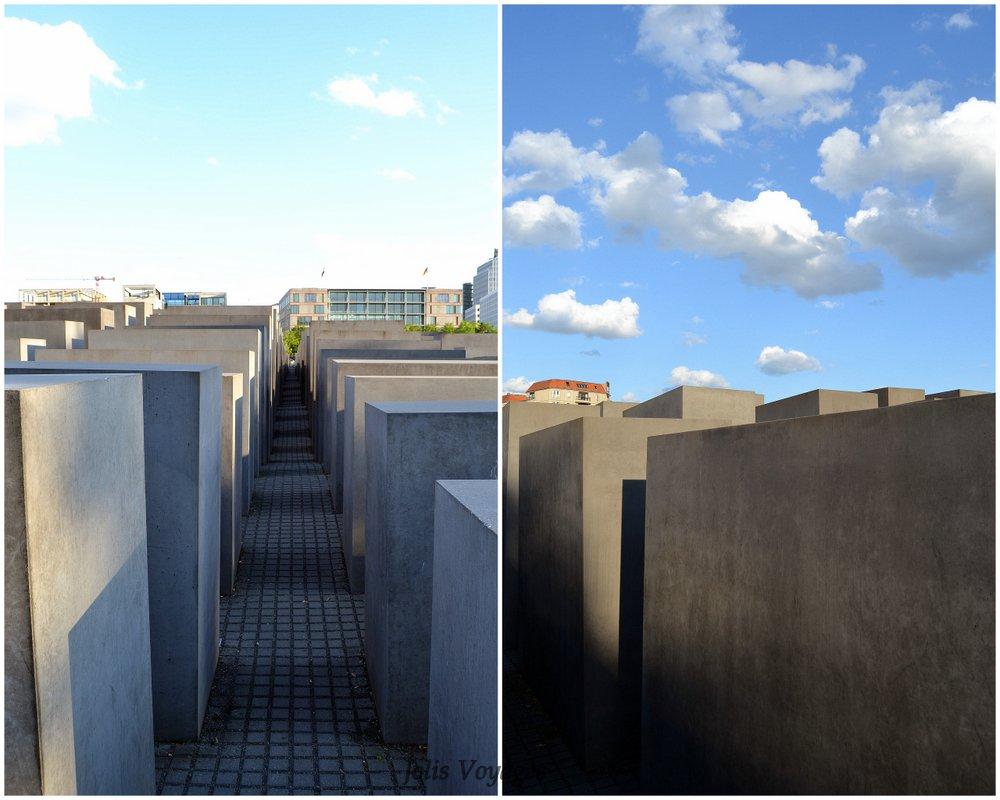 Tout à côté se trouve le Mémorial aux juifs, construit en souvenirs de tous les juifs morts pendant la seconde guerre mondiale ici ou là entre autres. 2711 stèles se trouvent à cette endroit. Il s'agit d'une oeuvre architecturale dePeter Eisenman.