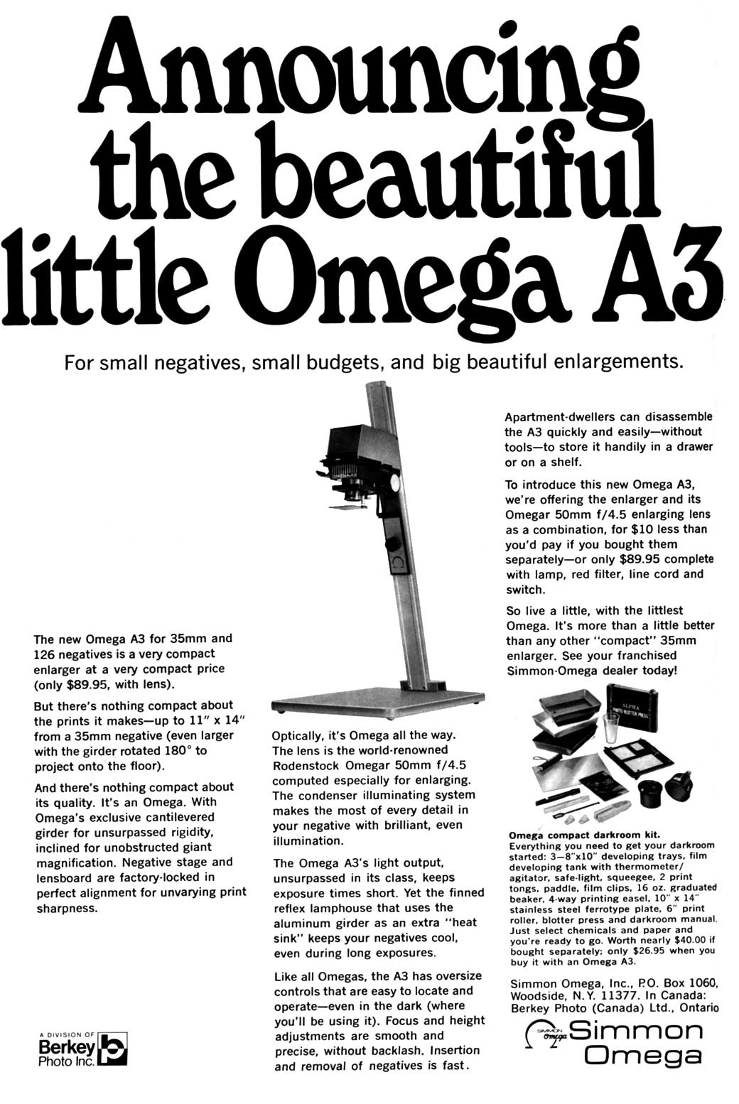 Ollinger's Guide to Photographic Enlargers: Simmon Omega A
