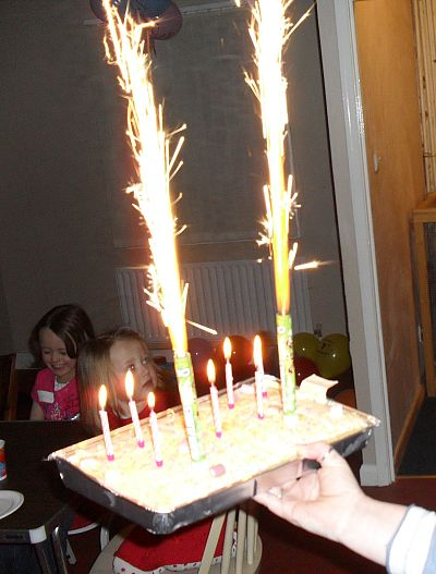 Fireworks on birthday cake