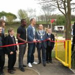 The Mayor of Seaham and Sunderland footballers open the new play park.